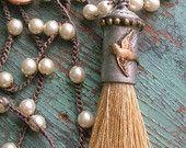 Boho tassel necklace - Take Flight - Boho jewelry crochet pearl necklace, bohemian soldered bird pendant necklace layering beaded necklace