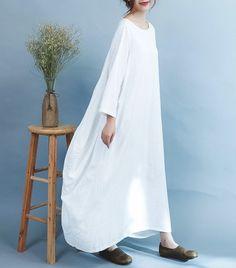 Amy white linen long sleeve maxi dress   #linen #OnePiece #overalls #pants #linendress #loosepants