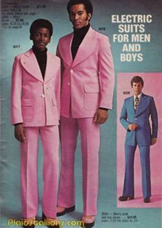 'Electric Suits' for men and boys in Pepto Bismol pink - Plaid Stallions: Rambling and Reflections on pop culture: Adult model wearing the pink suit is Actor/Model Bill Overton Bad Fashion, Retro Fashion, Vintage Fashion, Mens Fashion, Fashion Today, Mode Vintage, Vintage Ads, Vintage Black, Americana Vintage