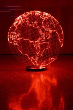 Giant Globe Emanates A Fiery Blaze In London and Berlin-based Palestinian artist. Giant Globe Emanates A Fiery Blaze In London and Berlin-based Palestinian artist Mona Hatoum Rainbow Aesthetic, Aesthetic Colors, Maroon Aesthetic, Neon Rouge, Simply Red, Red Walls, We Are The World, Neon Lighting, Kugel