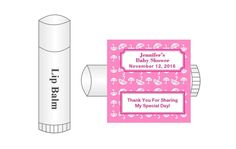 """These personalized, square labels measure 2.0""""x2.0"""" and were designed to fit on lip balm containers (0.15 oz/4.25 g). These labels fit well on Chapstick or Burt's Bees lip balm.  Other brands have not been tested for fit.  These labels feature a white umbrella with pink background theme and can be personalized with the name of the mother-to-be, date of event, and sentiment. You can also choose among four different frame styles."""