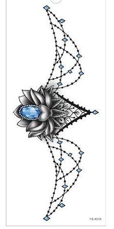 Tattoo Sticker 1pc new Chest large flower skull rose #TattoosforWomen