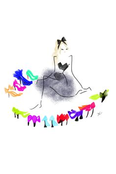 Shoes, Shoes, & More Shoes! (fashion illustration) -- I would live this in/outside my closet!