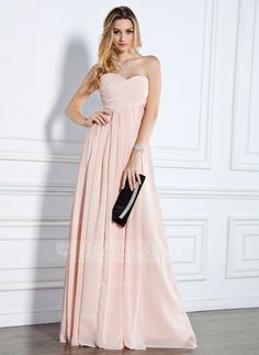♥ Empire Sweetheart Floor-Length Chiffon Evening Dress With Ruffle (017022510)- jjshouse♥ (Pearl Pink, Blushing Pink, Candy Pink, Watermelon, Fuchsia, Lavender, and Lilac)