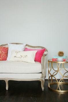 Gold Sequin Word Script Pillow Tutorial by Darling Darleen