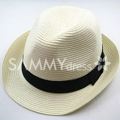 Chic Style Solid Color Embellished Peaked Fedora Straw Hat For Men and Women 5.20 USD