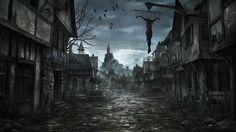 Dark Fantasy Wallpaper from DDarkness. Fantasy World Dark Fantasy Art, Fantasy Anime, Fantasy Kunst, Fantasy City, Fantasy Places, Fantasy World, Fantasy Village, Fantasy House, Creepy Backgrounds