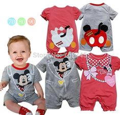 Wholesale 2015 New Baby Romper Cartoon Tail Short Sleeve One Piece Jumpsuits 6-24M 12817