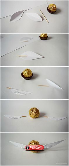 lottapeppermint: The Golden Snitch. A Harry Potter DIY made from Christmas chocolate.lottapeppermint: The Golden Snitch. A Harry Potter DIY made from Christmas chocolate.An adorable Dobby cardAn adorable Dobby card Baby Harry Potter, Baby Shower Harry Potter, Natal Do Harry Potter, Harry Potter Navidad, Harry Potter Motto Party, Gateau Harry Potter, Harry Potter Weihnachten, Harry Potter Fiesta, Harry Potter Thema