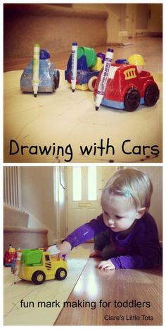 Drawing with cars a fun mark making and art activity idea that toddlers will love.