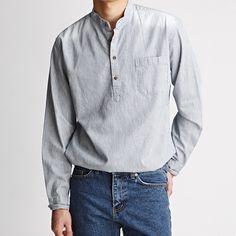스트라이프 헨리넥 워싱 청남방- shirt02 | 39000원
