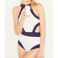 Sexy Round Neck Color Block Hollow Out One-Piece Swimsuit For Women