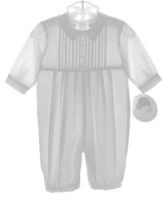 bbd843021 NEW Sarah Louise White Romper with Pintucks and Embroidery and Matching Hat  $50.00