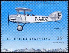 Stamp: Aircraft Potez 25 (Argentina) (Birth centenary of Antoine de Saint-Exupéry) Mi:AR 2580,G&o:AR 3053,Gz :AR 2522