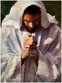 Jesus praying in dramatic lighting.