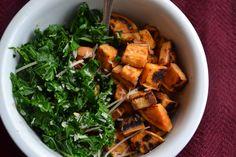 Agave Sautéed Kale with Roasted Sweet Potatoes