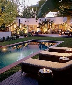 The pool terrace. Janus et Cie patio furniture | archdigest.com