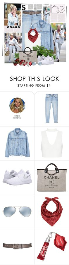 """""""Denim on Denim"""" by summersunshinesk7 ❤ liked on Polyvore featuring Victoria's Secret, MANGO, NIKE, Chanel, Ray-Ban, Barneys New York and Aventura"""
