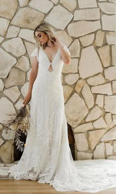 Daughters of Simone 2020 'Come Hell or High Water' collection featuring BLAKELY Romantic Wedding Receptions, Romantic Weddings, Wedding Ideas, Cap Sleeve Gown, Cap Sleeves, Bridal Dresses, Wedding Gowns, Boho Wedding, Silk Neck Scarf