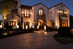 Night lights from a beautiful home exterior