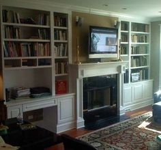 custom built in cabinets with storage around the fireplace | Custom Made Custom Built-Ins Around Fireplace