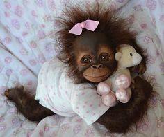 OOAK Reborn monkey orangutan baby Girl art doll artist creation original newborn