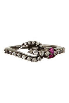 Elizabeth and James White Sapphire & Ruby Snake Black Accent Ring by Non Specific on @HauteLook