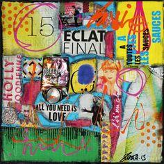 Collage abstrait réalisé avec des pièces de carton, des magaezines, des notices, canette compressée et peinture acrylique.