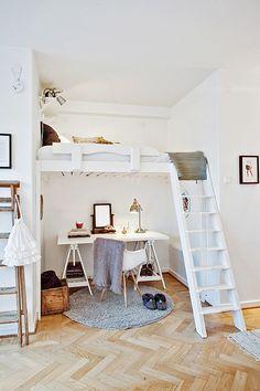 Inspiring little desk space under a bunk bed for a kids room / desk set: the decorating dozen / via @sfgirlbybay