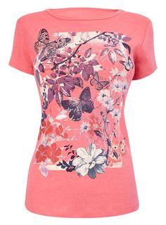Pink Short Sleeve Butterfly Front Print Tee - tops & t-shirts - Women
