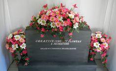 Memorial Cemetery Silk Flower Headstone/Tombstone Saddle + Matching Vase Buses
