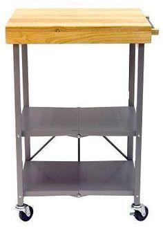 26 In. L X 20 In. W Foldable Kitchen Island Cart in Silver