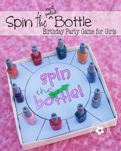 Spin the Nail Polish Bottle Party Game for Little Girls {OneCreativeMommy.com} Includes free Silouette and pdf files for spinner #partygames #SlumberParty