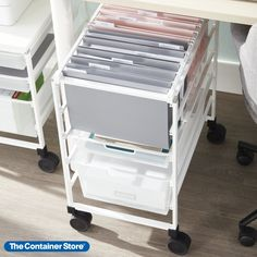 Our exclusive Elfa Mesh File Cart offers room for hanging file folders (sold separately), and has two Mesh Drawers below for storage. Available only at The Container Store, the fine weave of the mesh prevents small items from falling through. Choose from either letter-size (with Narrow Mesh Drawers) or legal-size (with Medium Mesh Drawers). Small Space Organization, Desktop Organization, Organization Hacks, Organizing, Office Shelving, Wall Mounted Desk, Hanging File Folders, Hanging Files, Under The Table