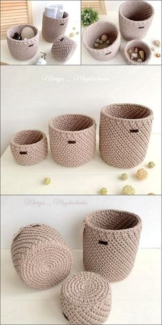 Well, have you ever think about choosing crochet material for the home use? If not, then here we have some outstanding and best ideas of the crochet patterns and designs for you that are incredible to be used for your clothing. Crochet Basket Tutorial, Crochet Basket Pattern, Knit Basket, Crochet Baskets, Basket Weaving, Crochet Simple, Free Crochet, Crochet Plant Hanger, Crochet Jewelry Patterns