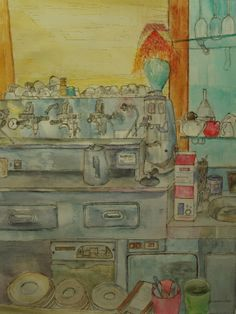 """title: """"Roma coffe Bar"""" (Roma) watercolor / acquarelle height: 60 cm  width:  45 cm made by Enrico Napoletano  in Florence (Italy); photo by  EN unique piece"""