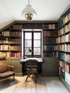 Uplifting Attic Remodel Loft Ideas - For book lovers - Home Office Attic Renovation, Attic Remodel, Home Library Design, House Design, Library In Home, Green Library, Modern Library, Attic Design, Library Room