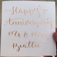 Personalised Greetings Card – Modern Calligraphy Greetings Card – Funny/heartfelt message of your ch - Handlettering Geburtstag Calligraphy Cards, Modern Calligraphy, Happy Anniversary, Wedding Anniversary, Aniversary Cards, Ink Splatter, Card Wedding, Gold Hands, Card Envelopes