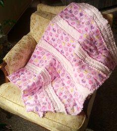 Cuddly Baby Girl Rag Quilt Pink Rag Quilt by PurplePeacockFarm