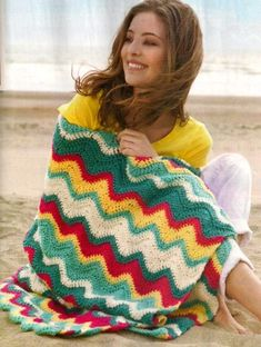 Striped ZigZag Afghan free crochet graph pattern