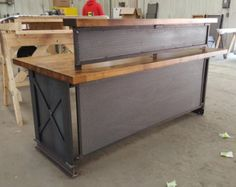 20' rustic custom sales counter or reception desk. by BuyfooBARS