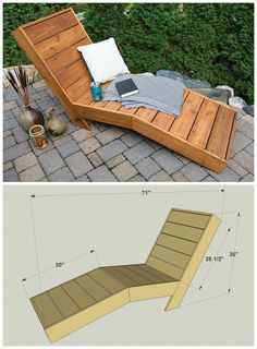 5 Chaise Lounge Chair Diy Furniture Projects chaise lounge DIY Outdoor Chaise Lounge FREE PLANS at buildsomething Pallet Garden Furniture, Outdoor Furniture Plans, Furniture Projects, Home Furniture, Barbie Furniture, Art Projects, Furniture Design, Furniture Makeover, Antique Furniture