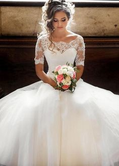 dresses lace country Wedding Dresses Simple, Alluring Tulle & Lace Scoop Neckline A-line Wedding Dresses With Lace Appliques Midi Bridal Uk Wedding Dress Trends, Princess Wedding Dresses, Modest Wedding Dresses, Designer Wedding Dresses, Bridal Dresses, Bridesmaid Dresses, Wedding Gowns, Formal Dresses, Wedding Ideas