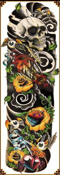 full arm tattoo stickers large flower shoulder fake tattoos sleeves for man body paint death skull rose Black Fire Arm Tats, Full Arm Tattoos, Fake Tattoos, Skull Tattoos, New Tattoos, Body Art Tattoos, Cool Tattoos, Fake Tattoo Sleeves, Sleeve Tattoos