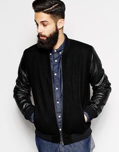 ASOS+Wool+Bomber+Jacket+With+Leather+Look+Sleeves
