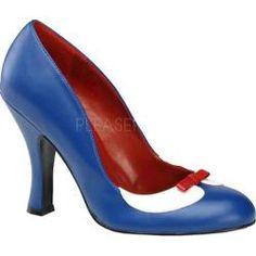 Women's Pin Up Smitten 05 Navy Blue/White PU