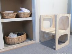 montessori bedroom for toddlers dressing area and cube chair