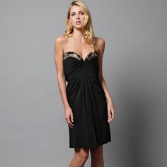 Badgley Mischka Collection jersey beaded dress STUNNING Badgley Mischka Collection dress. Strapless sweetheart neckline with gold and black beading across boned detail. Size 6. New with tags, bought at Saks for $430. Badgley Mischka Dresses