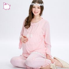 38.97$  Buy here - http://alilim.shopchina.info/go.php?t=32729256942 - Sleepwear Set Women Cotton Pajamas Long Sleeves Pyjama Allaitement Nursing Clothes Maternity Nightwear Breasfeeding 2016 70M049 38.97$ #aliexpressideas