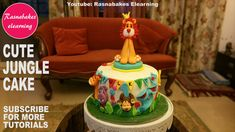 Cute cool wild zoo jungle animals fondant first birthday cake for kids decorating classes video 1st Birthday Cake Designs, Cricket Birthday Cake, Easy Kids Birthday Cakes, Birthday Cake Gift, Cartoon Birthday Cake, 1st Birthday Cake For Girls, Animal Birthday Cakes, First Birthday Cakes, Lion Birthday